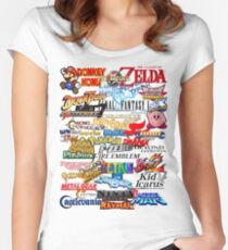 Retro Nintendo Titles  Women's Fitted Scoop T-Shirt