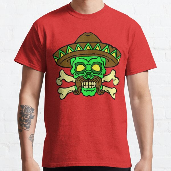 Sombrero Skeleton T-Shirt mexican skull Short Sleeve Baseball