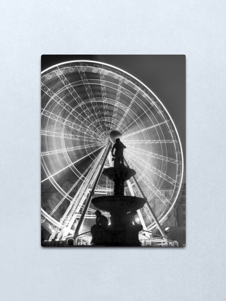 Alternate view of The 'Budapest Eye' overlooking Danubius Fountain in Erzsebet Square Metal Print