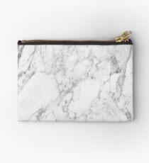 White Marble Print Studio Pouch