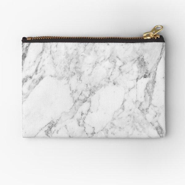 White Marble Print Zipper Pouch
