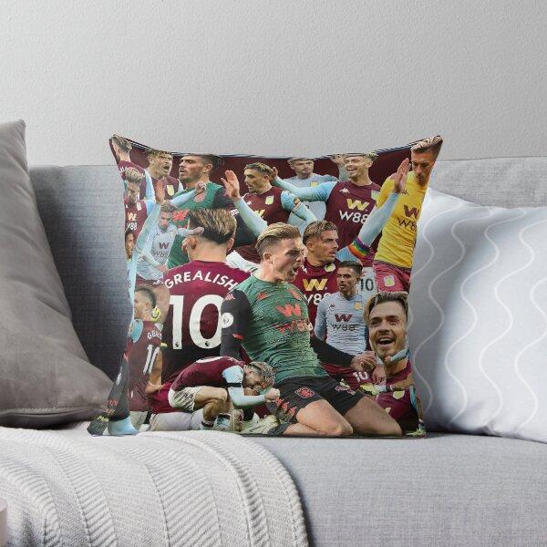 aston villa football club legends prints posters squad jack grealish collage Throw Pillow