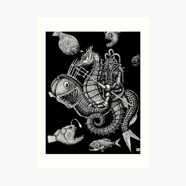 Poseidon ink pen surreal drawing Art Print