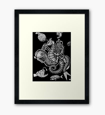 Poseidon ink pen surreal drawing Framed Print