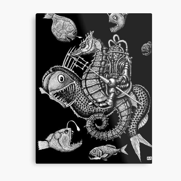 Poseidon ink pen surreal drawing Metal Print