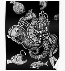 Poseidon ink pen surreal drawing Poster