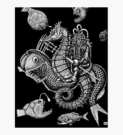 Poseidon ink pen surreal drawing Photographic Print