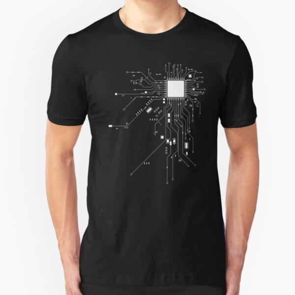 CPU Computer Heart White Slim Fit T-Shirt