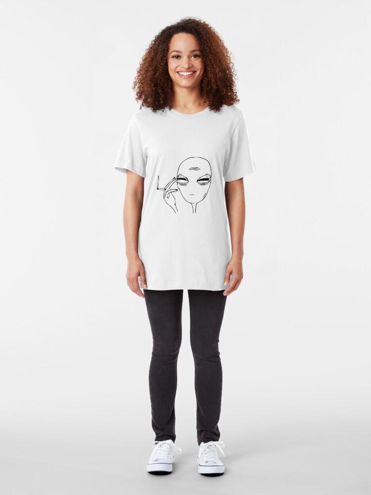 T-shirt ajusté ''Alien fumeur': autre vue