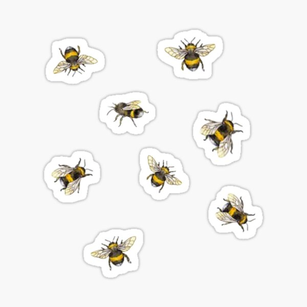 Black and Yellow Busy Bumble Bee Pattern Vintage Insect Theme Symbol of fortune, joy and harmony, friend or co-worker gift Sticker