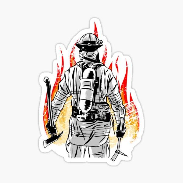 Firefighter Fireman Flames Fire Thin Red Line Gift for Men Sticker