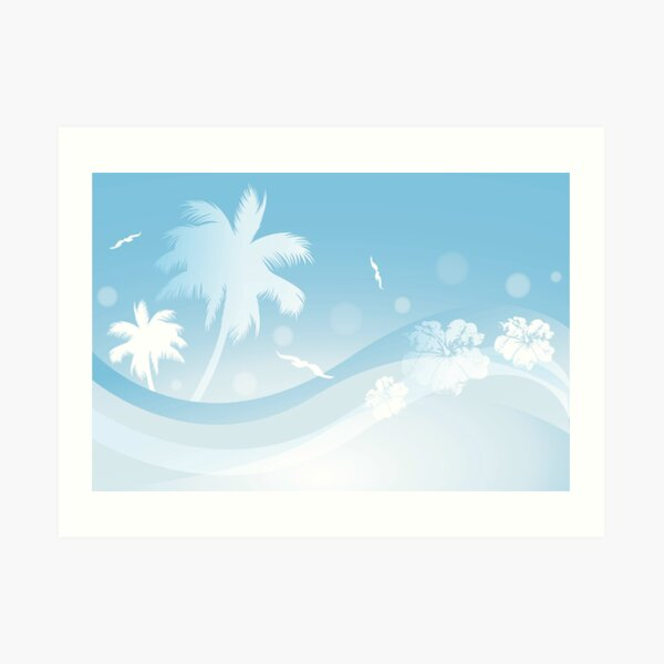 Tropical background in blue colors Art Print