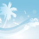 Tropical background in blue colors by schtroumpf2510
