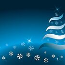 Abstract Christmas tree in various blue and golden colors by schtroumpf2510