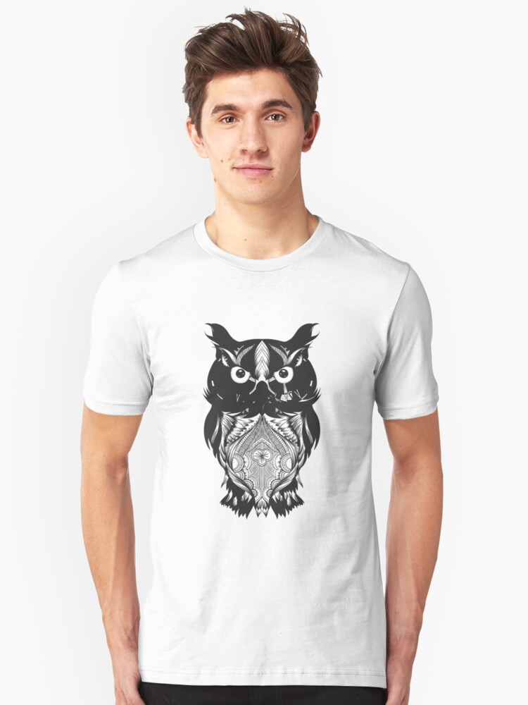 Black Owl Design Unisex T-Shirt Front