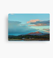 Landscape, Evening light over, Traigh house and Carn a Ghobhair Canvas Print
