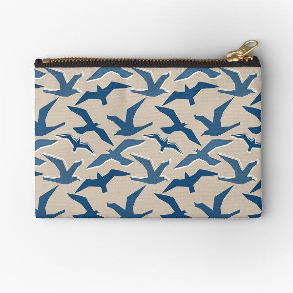Blue Seagull Silhouettes Zipper Pouch