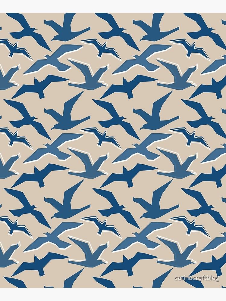 Blue Seagull Silhouettes by carinacraftblog