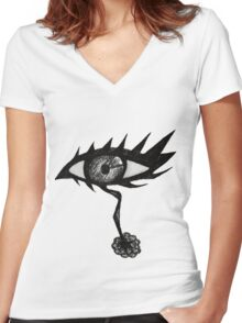 Doodle Spike Eye Women's Fitted V-Neck T-Shirt