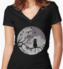 The Cat And The Moon Women's Fitted V-Neck T-Shirt