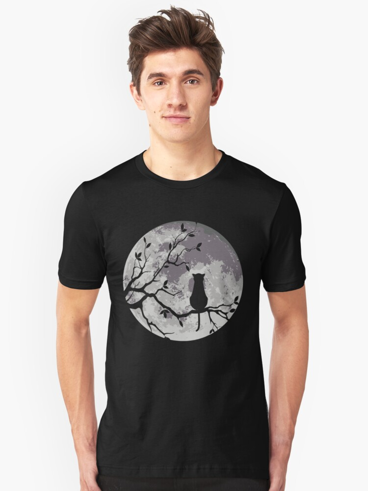 The Cat And The Moon Unisex T-Shirt Front
