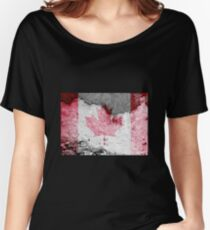 canada flag brick wall Women's Relaxed Fit T-Shirt