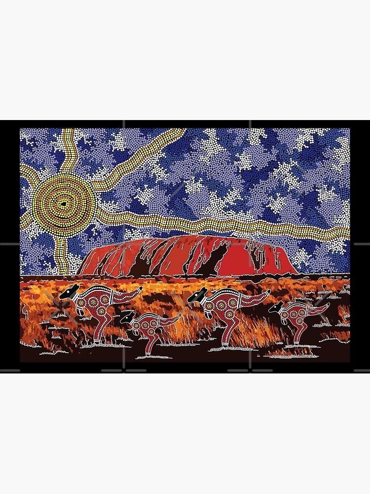 Authentic Aboriginal Art - Uluru Sky by HogarthArts