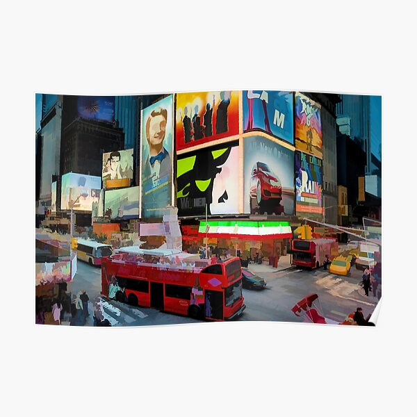 Times Square II (pastel paint style) Poster