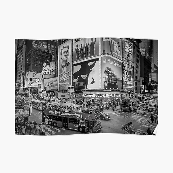 Times Square II (black and white) Poster