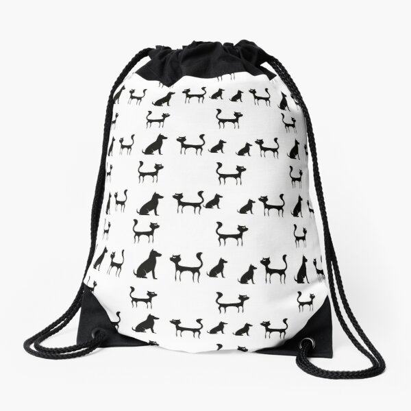 Cats and Dogs Pattern (on black) Drawstring Bag