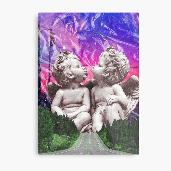 Kiss Me Before the World Ends surreal angel collage Metal Print