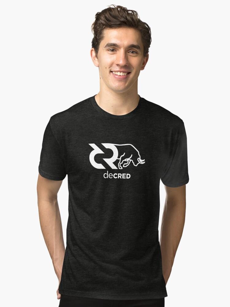Alternate view of Decred Bull ™ v1 'Design timestamped by https://timestamp.decred.org/' Tri-blend T-Shirt