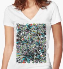 sugar set wink  Women's Fitted V-Neck T-Shirt