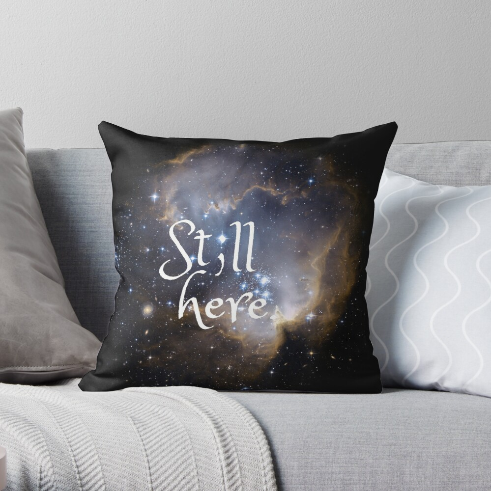 """Still Here"" Semicolon Mental Health Comfort Throw Pillow"