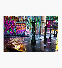 Colour on a rainy day in Hosier Lane Photographic Print