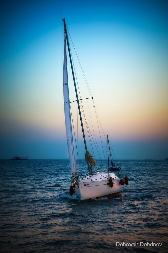 Sailing and sunset by Dobromir Dobrinov
