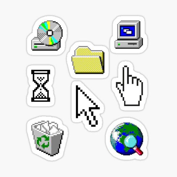 Windows 95 Computer Icon Sticker Pack Collection Sticker