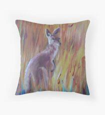 Kangaroos in Long Grass Throw Pillow