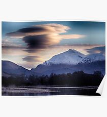 Ben Lui topped with lenticular clouds above Poster