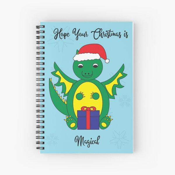 Christmas Cute Dragon Magical Snowflakes Blue Spiral Notebook