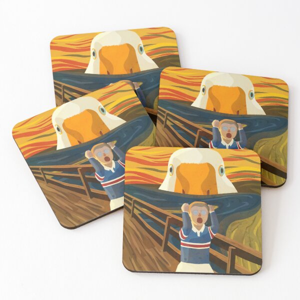 The Honk - Goose - The Scream Famous Painting Parody, Untitled, Meme ,Hjonk, Bonk, Canvas, Comic con Reusable Facemask, knife, Peace Was Never An Option Thematic Gift Coasters (Set of 4)