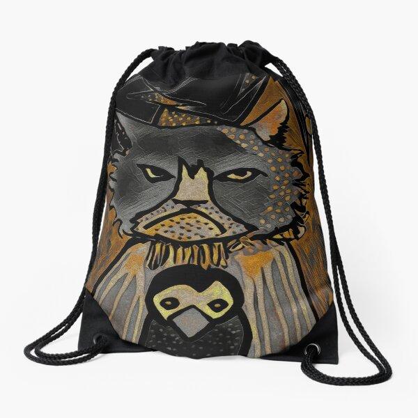 Mean Cat in Quarantine Drawstring Bag