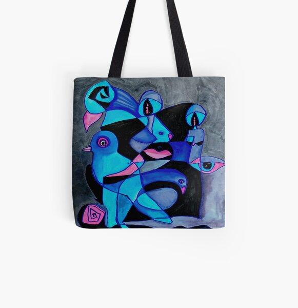 Blue Stream of Consciousoness All Over Print Tote Bag