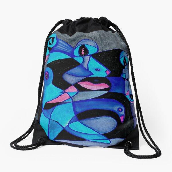 Blue Stream of Consciousoness Drawstring Bag