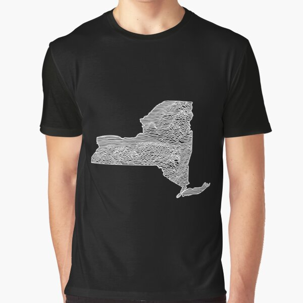 New York State Linear Abstract Art Graphic T-Shirt