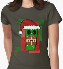 Minecraft Christmas Creeper  Womens Fitted T-Shirt