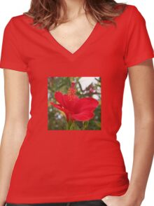 Soft Red Hibiscus With Natural Garden Background Women's Fitted V-Neck T-Shirt