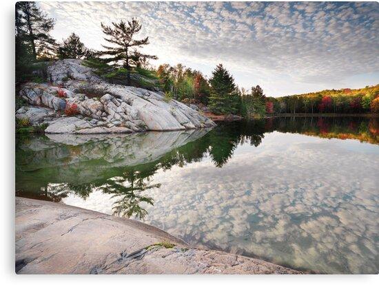 Autumn Nature Lake Rocks and Trees art photo print by ArtNudePhotos