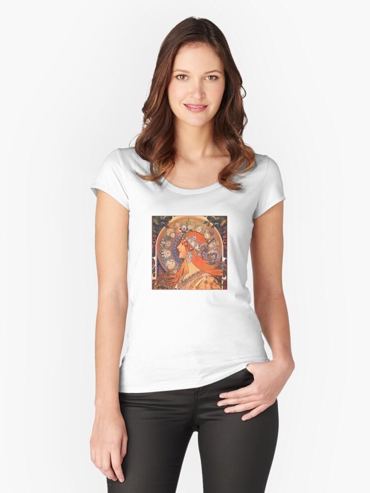 Alphonse Mucha: Zodiac Women's Fitted Scoop T-Shirt Front