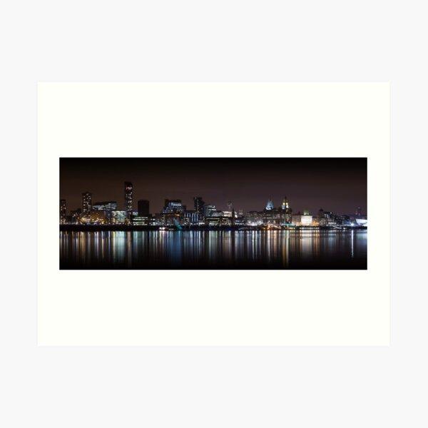 Liverpool Panoramic Skyline At Night Art Print
